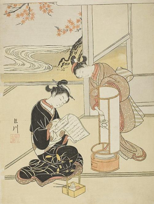 座鋪八景 行燈の夕照 画:鈴木春信 シカゴ美術館所蔵