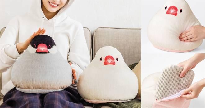 ぎゅっと抱きしめて♡まるであんこが詰まった大福みたいにもっちりな「文鳥クッション」が発売!