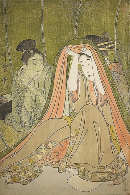 「蚊帳美人」画:喜多川歌麿 シカゴ美術館所蔵