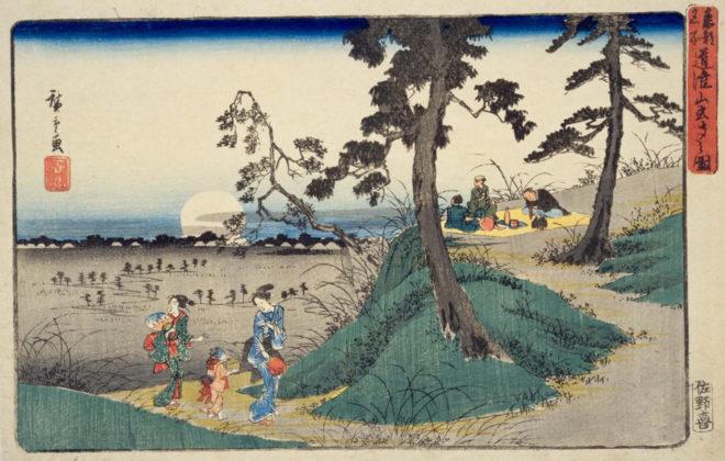 東都名所 道潅山虫聞之図 画:歌川広重 国立国会図書館デジタルコレクション