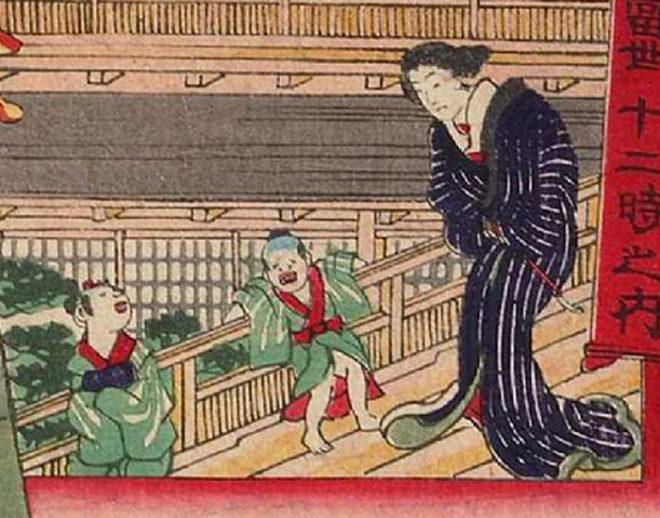 当世十二時之内「子之刻」(部分)画:歌川芳虎 東京都立図書館所蔵