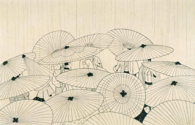 おせん 傘 画:小村雪岱 出典:600dpiパブリックドメイン美術館