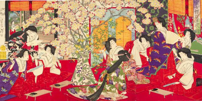 宦女桜筵連歌ノ図 画:芳年 国立国会図書館デジタルコレクションより