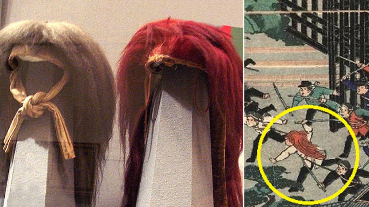 カツラじゃないよね?幕末モノでよく官軍がかぶってる赤い毛のフサフサ、あれは何?
