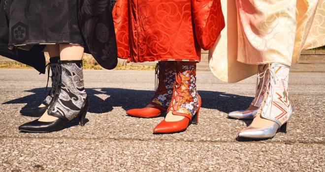 和装の新スタイル!パンプスに装着してブーツのようなスタイリングが楽しめる『Obi de Boots iki』