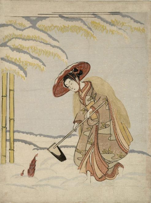 雪中に筍を掘る女 見立孟宗 画:鈴木春信 メトロポリタン美術館所蔵