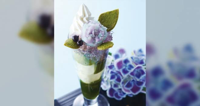 雨露に煌めく紫陽花をイメージした『紫陽花パフェ』伊藤久右衛門が今年も提供開始