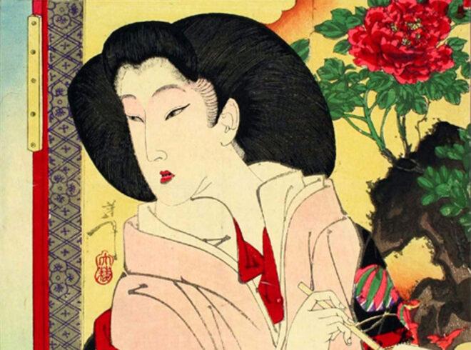 『近世人物誌 徳川慶喜公御簾中』 (月岡芳年画)中部分