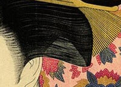 櫛を持つ女(髪部分) 画:喜多川歌麿 出典:シカゴ美術館