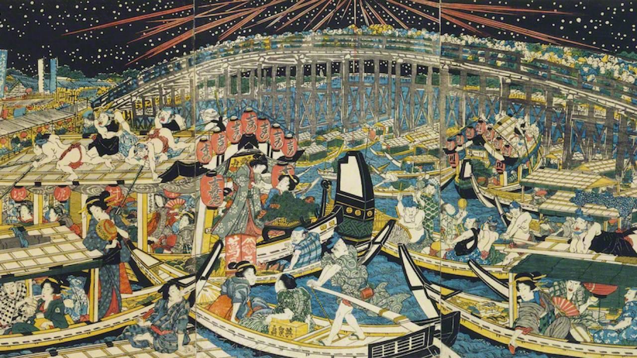 夏の風物詩!歴史は江戸時代まで遡る隅田川の花火大会を浮世絵で楽しもう