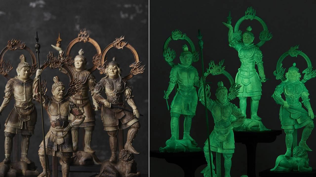 カッコ良すぎだろコレ!暗闇で光るナイトグロウ仕様な四天王の仏像フィギュアが発売