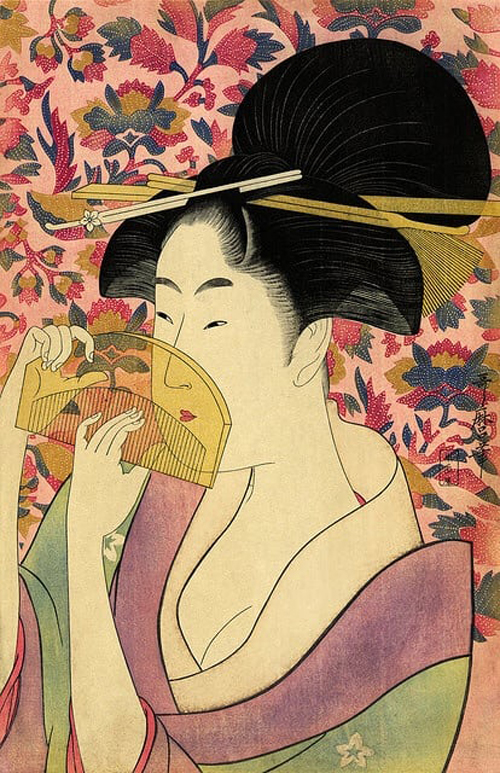 櫛を持つ女 画:喜多川歌麿 出典:シカゴ美術館