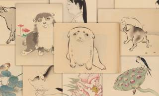 【無料ダウンロード公開】ワンコ可愛すぎ♡明治時代の墨絵の作品集「邦画帖」がかなり学べる!
