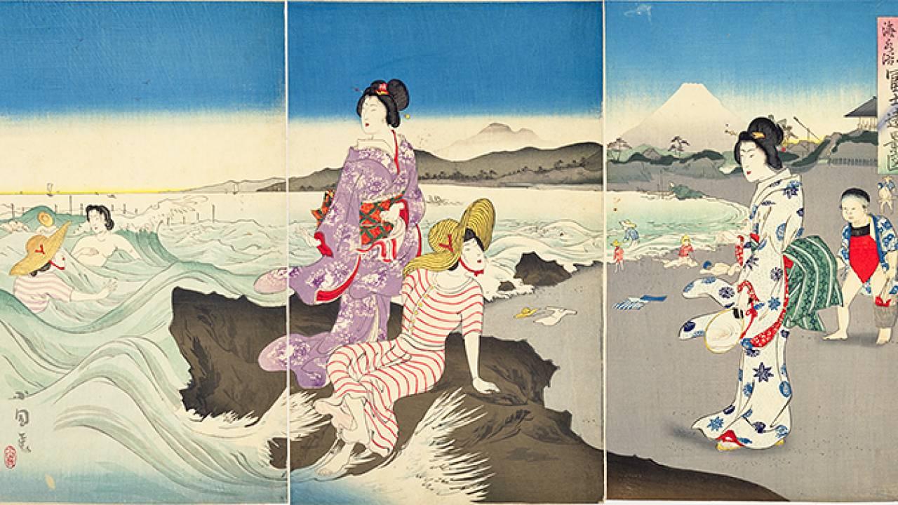 錦絵でみる明治時代の娯楽や遊び。海水浴、気球船、潮干狩り、サーカスまで描かれていた!