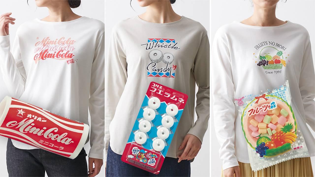 ミニコーラやフエラムネなど、懐かしロングセラー駄菓子とのコラボTシャツが発売!キッズもあるよ