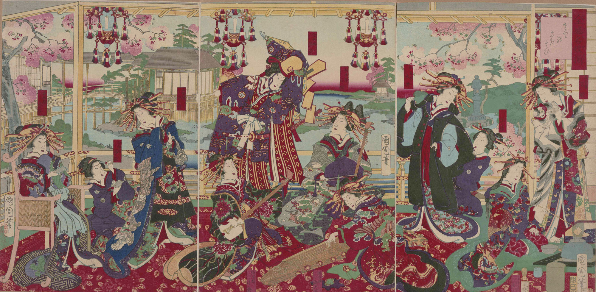 全盛名妓揃 画:豊原国周 東京都立中央図書館特別文庫室所蔵
