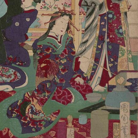 全盛名妓揃 画:豊原国周 東京都立中央図書館特別文庫室所蔵(部分)